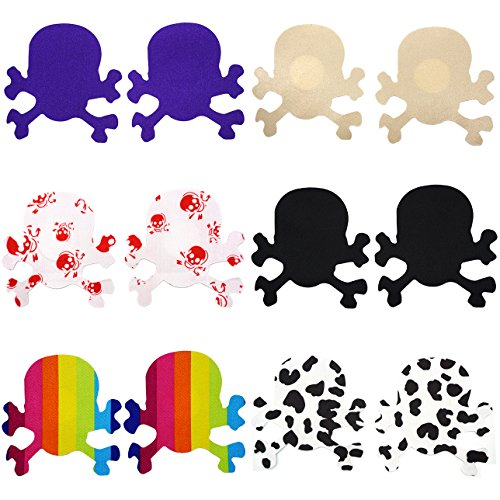 [6 Pairs Sexy Skull Nipple Pasties Breast Petals Nippless bra Cover Sticker] (Womens Tank Dress Wonder Woman Costumes)