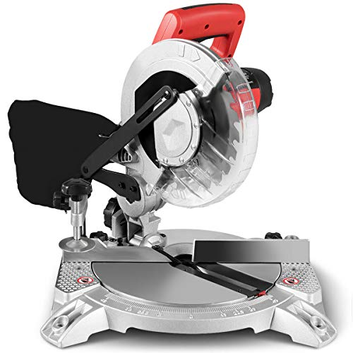 Goplus 8-Inch Compound Miter Saw, Single Bevel Sliding Glide Miter Saw with 0-45° Left Bevel Range, 5500RPM, 11 Amp 1400W Motor, with 24 Teeth Saw Blade and Dust Bag