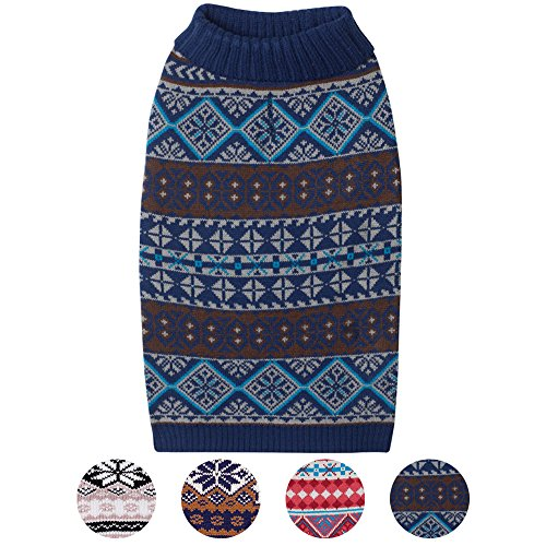 Blueberry Pet 4 Patterns Holiday Fun Fair Isle Style Yale Blue Snowflakes Pullover Dog Sweater , Back Length 16