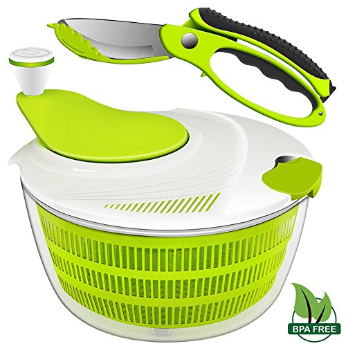 Salad Spinner Dryer, iLove Cooking Grips Salad Spinner with Vegetable Scissors - Large Capacity; BPA Free Certified; Easy Spin for Tastier Salads & Dishwasher - Salad Safe Dishwasher Spinner