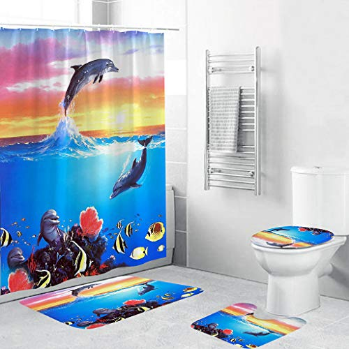NIHAI 4PCS Deep Sea Marine Animal Series Shower Curtain Set- Soft Non-Slip Bathroom Mats Set- Anti-Slip Rug Toilet Cover Mat Shower Curtain- Rectangle Floor Mat (G) (Curtains Marina)