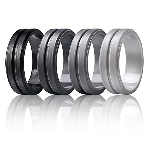 Silicone Wedding Rings by Marrimi,Premium Silicone Wedding Bands for Men,Flexible,Skin Safe &Comfortable