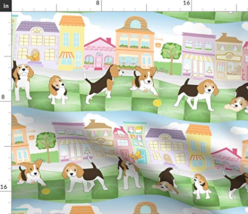 Spoonflower Beagle Fabric - Cute Pet Beagle Home Decor Beagle Pup City Dog Animal Shop Pet Nursery Decor Print on Fabric by The Yard - Petal Signature Cotton for Sewing Quilting Apparel Crafts Decor