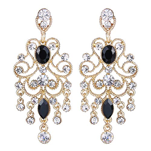 BriLove Wedding Bridal Dangle Earrings for Women Vintage Style Crystal Drop Hollow Filigree Chandelier Dangle Earrings Black Gold-Toned