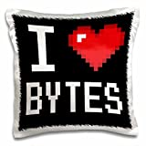 Dooni Designs Geek Designs - Geeky Old School Pixelated Pixels 8-Bit I Heart I Love Bytes - 16x16 inch Pillow Case (pc_118866_1)