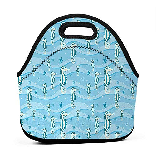 - Tote Waterproof Outdoor Aqua,Cartoon Style Abstract Waves Underwater Life Theme Sea Horse Starfishes,Pale Blue Teal Eggshell,sports lunch bag for boys