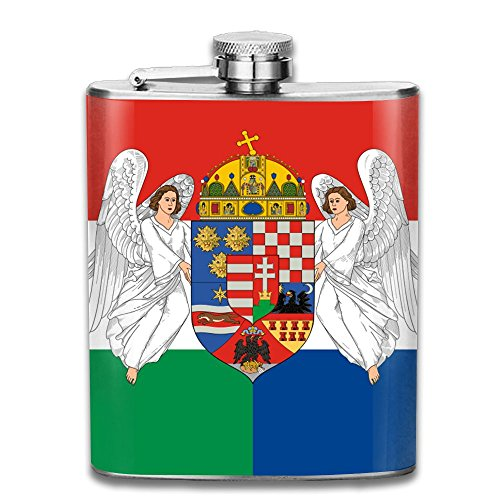(CzxzZd CZZD The National Flag Of Croatia, Hungary Portable Stainless Steel Flagon Brandy Wine)
