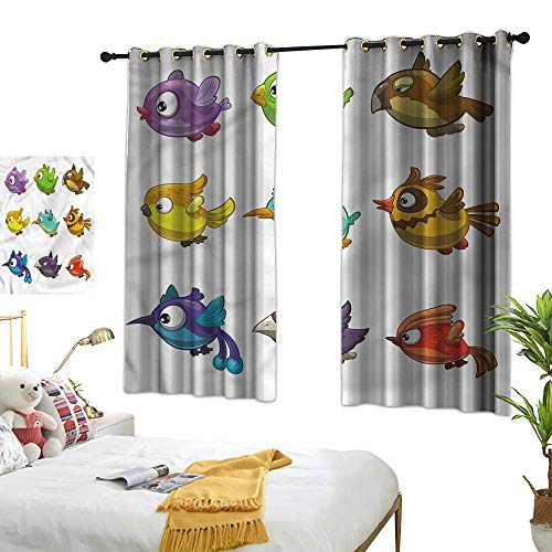 - Marshome Insulated Sunshade Curtain Different Cartoon Birds Kids Darkening and Thermal Insulating 63