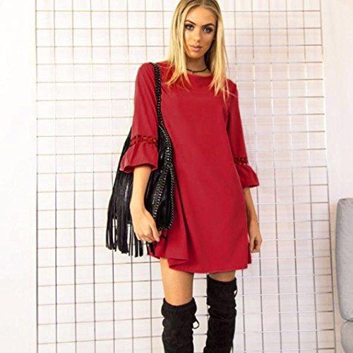 Janly Casual Mini Kleider für Frau Uni Hohl Drei Viertel Shirt Kleid ...