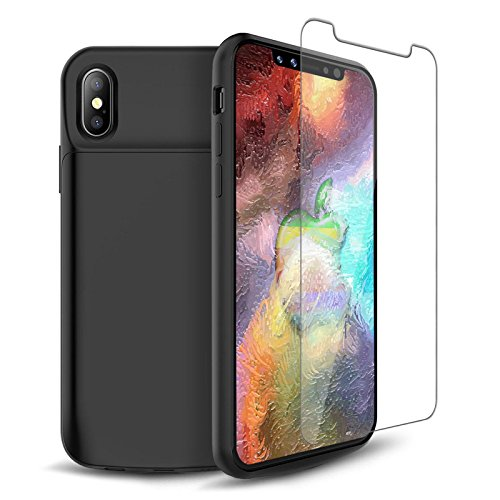iPhone X Battery Case, 6000mAh Ultra-Slim Rechargeable 200% Extended Protective Portable Backup Charger Power Bank Case for iPhone X/10(5.8inch),Free Tempered Glass Screen Protecor [Apple Certified Chip; iOS 11+] – Black