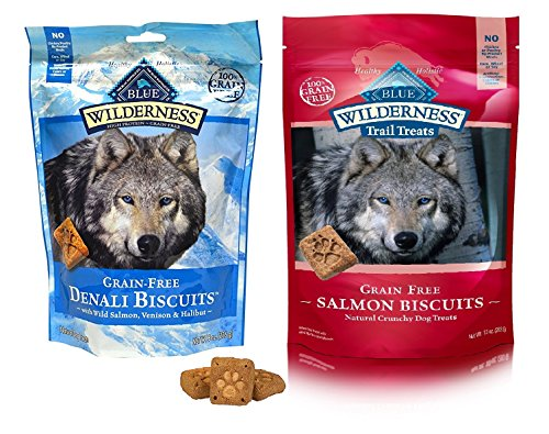 Blue Buffalo Wilderness Dog Treat Variety Pack – 2 Flavors Denali Blend 8-Ounces & Salmon Recipe 10-Ounces (2 Total Pouches)