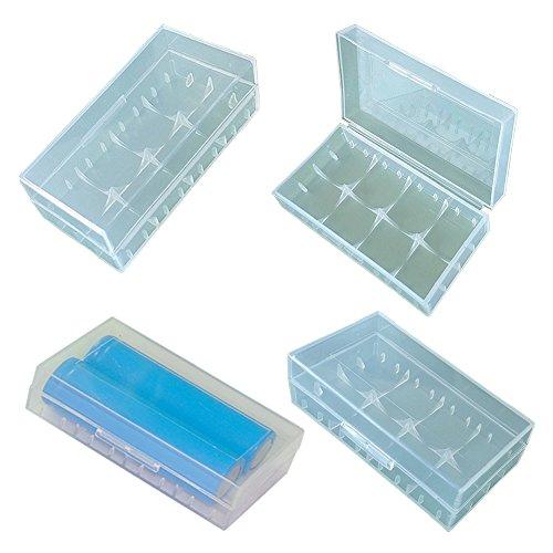 Lontenrea 8 Pcs Transparent Plastic Battery Storage Case Box Holder for 18650 CR123A 16340