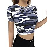 Oksale® Womens Fashion Camouflage Bare Midriff Short Sleeve T-Shirt Crop Tops Blouse (Purple, S)