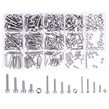 Hilitchi 300pcs M2 3 4 304 Stainless Steel Hex Socket Head Cap Screws Nuts Assortment Kit with Box (304 Stainless Steel)