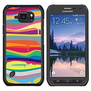 Blob Dripping Paint Colors Líneas Patrón- Metal de aluminio y de plástico duro Caja del teléfono - Negro - Samsung Galaxy S6 active / SM-G890 (NOT S6)
