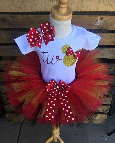 Minnie Mouse Birthday Tutu Outfit Set Dress Shirt Red and Gold 2nd Second Twoddles -