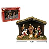 Christmas Figurines (Christmas Nativity Set with Wooden Barn Design 8 Piece)