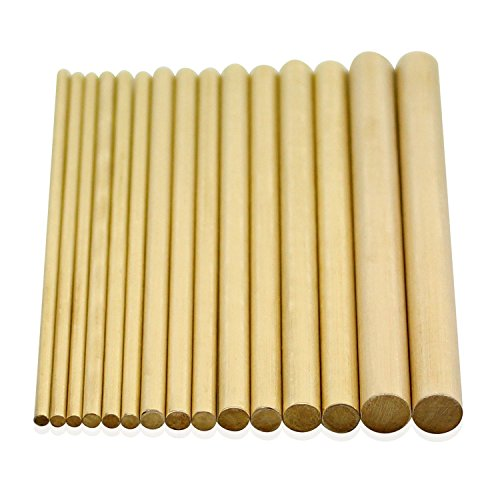 DYWISHKEY Brass Round Rods Bar Assorted, Diameter 2.5-8mm for DIY Craft Tool (15Pcs) by DYWISHKEY