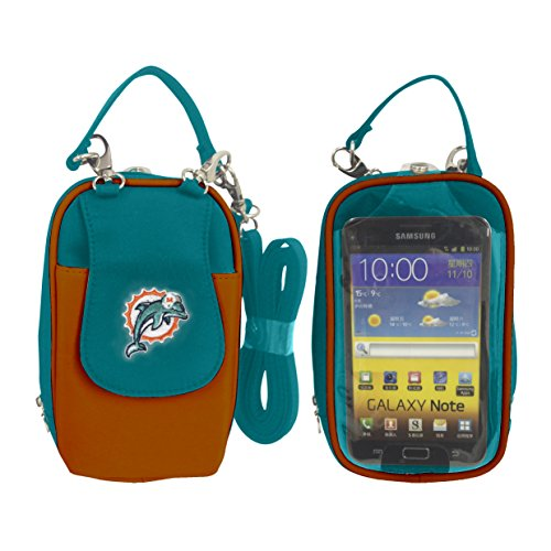 (Charm14 NFL Miami Dolphins Women's Crossbody Cell Phone Purse XL -Fits All Phones by Little Earth)