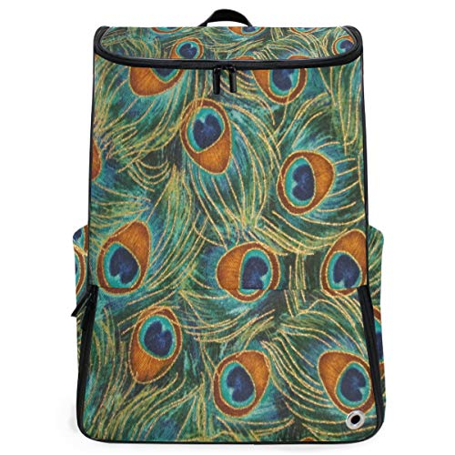 Peacock Feathers Gold Large Capacity School College Bookbag Laptop Computer Backpack for Men Women