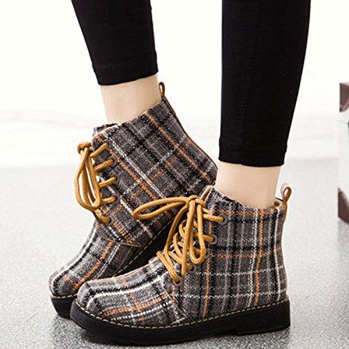 Women's Plaid Canvas Yellow Lace Ankle Boots Oasap up Casual vxXqIvdR
