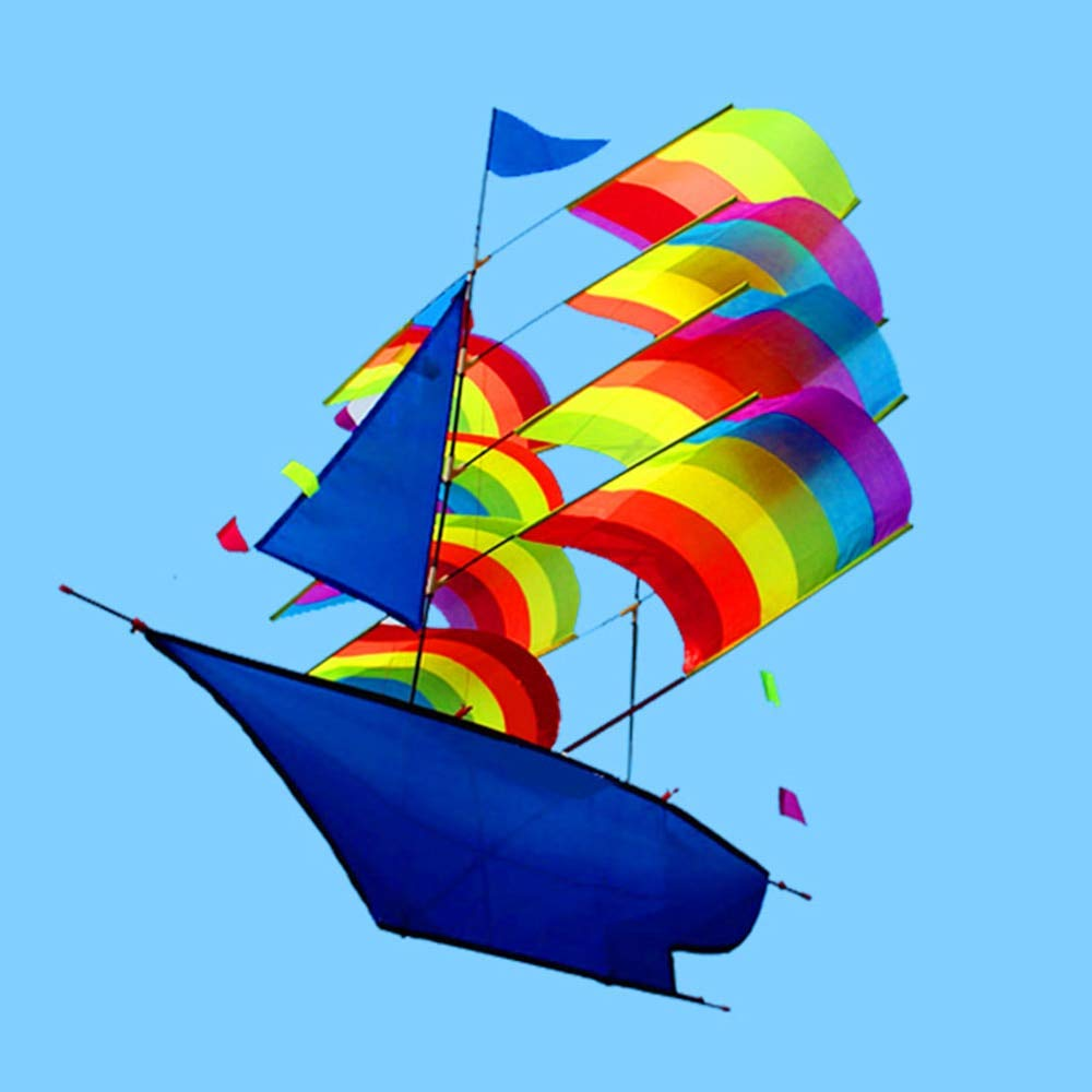 SHLMM 66 * 96cm 3D Sailboat Kite for Kids adults Sailing Boat Flying Kite with String and Handle Outdoor Beach Park Sports Fun