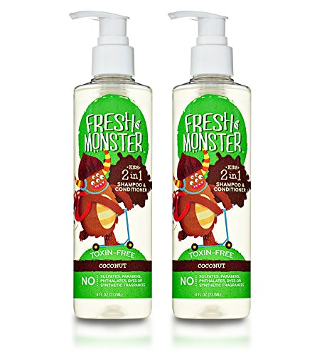 Monster Pump (Fresh Monster Toxin-free Hypoallergenic 2-in-1 Kids Shampoo & Conditioner, Coconut, 2 Count)