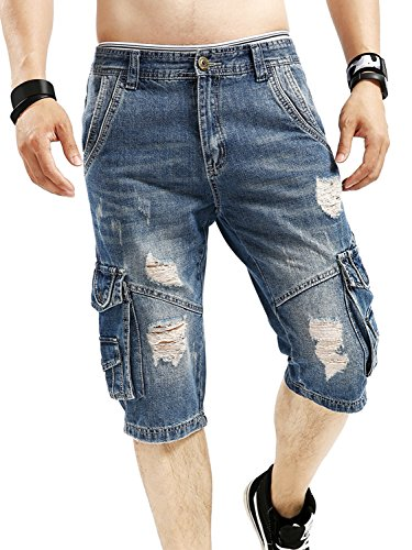 Biker Denim - Idopy Men`s Cargo Denim Biker Jeans Shorts with Zippers (W29, Blue 3)