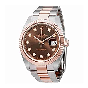 Rolex Datejust 41 Chocolate Diamond Dial Steel and 18K Everose Gold Oyster Mens Watch 126331CHDO