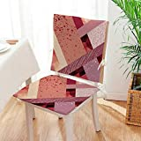 Egg Carton Foam Pad Mikihome 2 Piece Set Chair Pad Art Style Geometric Theme Modern and Decorative Design Print Coral Salmon Light Pink Soft Seat Comfortable,Living Room Mat:W17 x H17/Backrest:W17 x H36