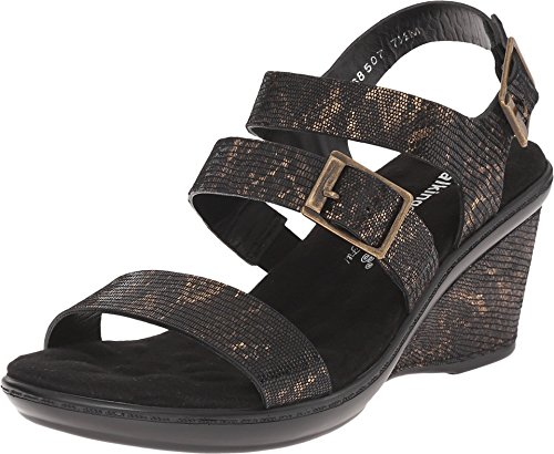 Walking Cradles Women's Lean Black/Bronze Lizard Print Sandal 9.5 N (Lizard Print Sandal)