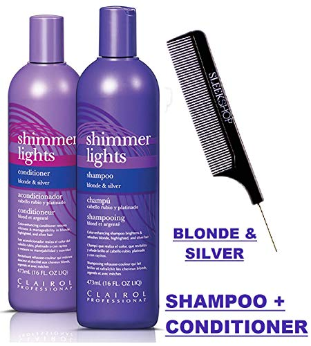 Clairol SHIMMER LIGHTS Shampoo & Conditioner DUO, BLONDE & SILVER, Purple Violet To Tone Down Brassiness, Brightens & Refreshes Highlighted (w/Comb) Remove Yellow (16 oz DUO SET KIT)