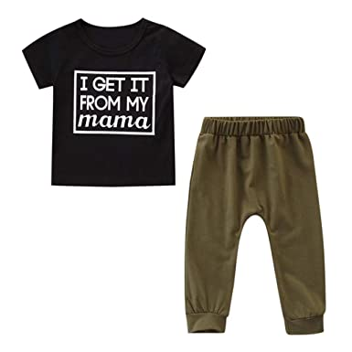 Toddler Kids Baby Boys Girls Outfits Clothes Letter Print T-Shirt Top+Pants Set