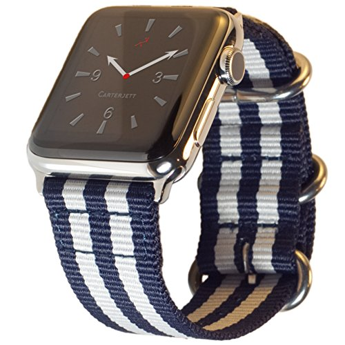 - Carterjett Compatible Apple Watch Band 42mm 44mm Women Men Replacement iWatch Band Nylon NATO Canvas Strap Steel Hardware Compatible Apple Watch Edition Sport Series 4 3 2 1 (42 44 S/M/L Blue/White)