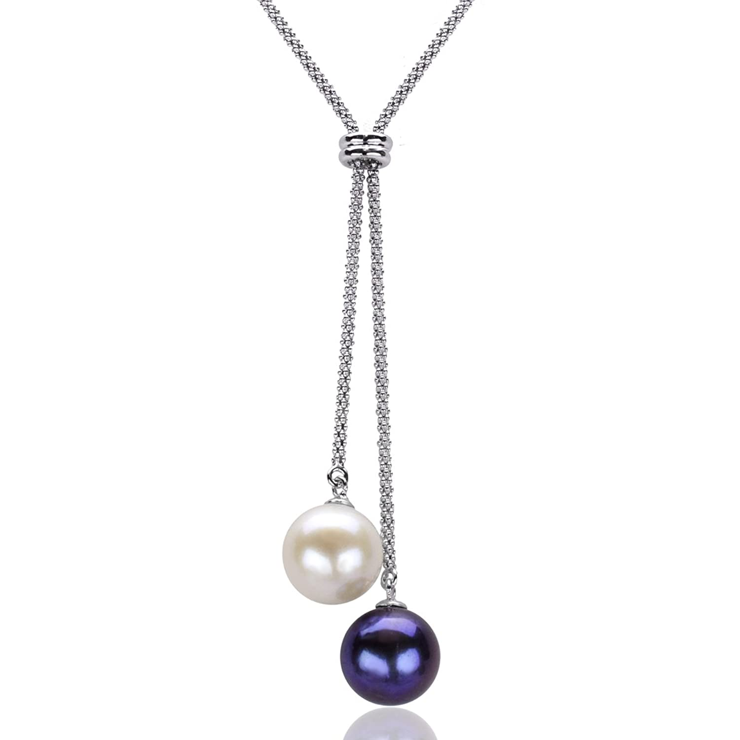 Sterling Silver 10-10.5mm White and Dyed-black Freshwater Cultured Pearl Popcorn Chain Necklace, 16""
