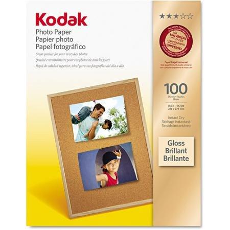 "Kodak 8.5"" x 11"" Gloss Inkjet Instant Dry Photo Paper, 100-P"