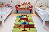 Ottomanson CG1235-3X6 Children's Garden Collection Educational Hopscotch Design, 2'7'X6'0', Green