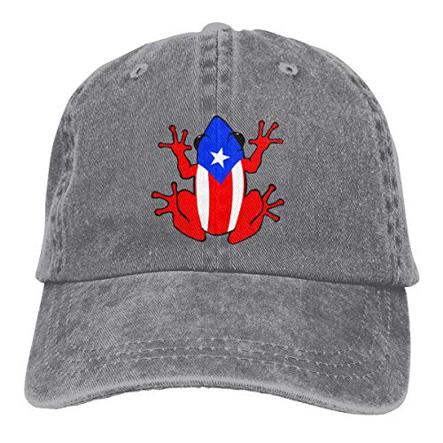 Jeans Hat Puerto Rico Rican Frog Baseball Cap Sports Cap Adult Trucker Hat Mesh Cap Gray
