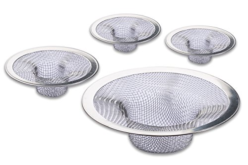 Essential Sink Laundry (4-Pack Sink Strainer set, Stainless-Steel, Fits Most Kitchen Sinks, Bathroom basins, Tub, Shower Drains, Laundry Room.)