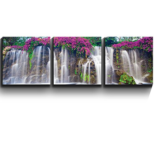 3 Square Panels Contemporary Art Lush Waterfall and flowers Three Gallery ped Printed Piece x3 Panels