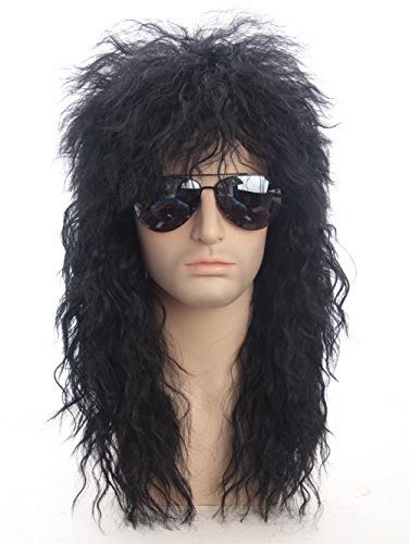 Topcosplay 80s Wigs Halloween Costumes Male Wig Punk Heavy Metal Mullet Wig Black Curly -