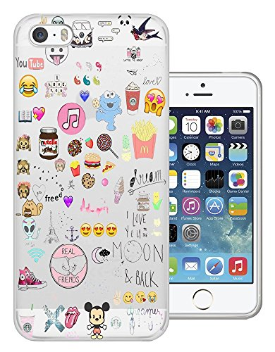 C0945 - Girly Collage Dream Catcher Coffee Smiley Emoji Best Friend Love you to the moon Design iphone 5 5S Fashion Trend Protecteur Coque Gel Rubber Silicone protection Case Coque