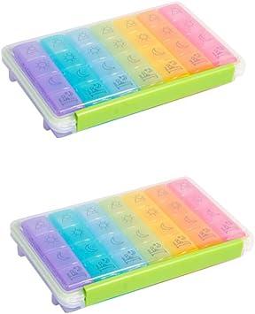 Heallily - Caja para píldoras de 2 unidades, 7 días, 28 compartimentos, portadocumentos portátil, color arcoíris, para oficina, paciente, al aire libre, para viajes: Amazon.es: Salud y cuidado personal