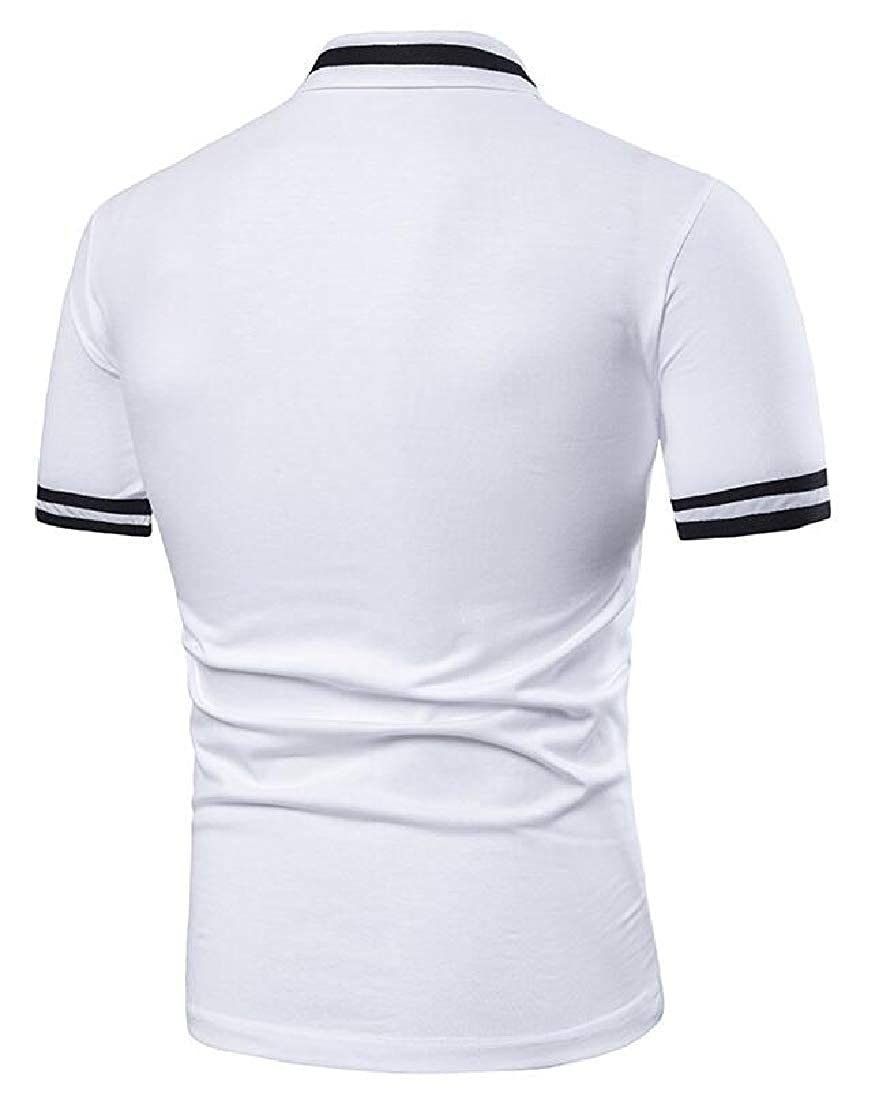 Men/'s Polo Shirts Short Sleeve Cotton Tee Button Basic T-Shirts