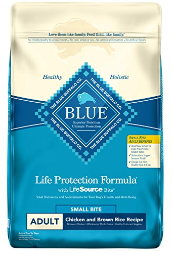 Blue Buffalo Life Protection Formula Adult Small Bite Dog Food - Natural Dry Dog Food for Adult Dogs - Chicken and Brown Rice - 30 lb. Bag (Bites Dog Breed)