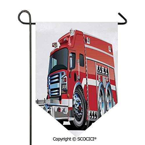 SCOCICI Easy Clean Durable Charming 28x40in Garden Flag Big Fire Truck with Emergency Equipments Universal Safety Rescue Team Engine Cartoon,Red Silver Double Sided Printed,Flag Pole NOT Included