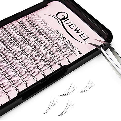Russian Volume Eyelash Extensions 3D 0.10mm C Curl Mix-12-15mm Short Stem Premade Fans|Optional Length 11-14mm Mix-12-15mm|(3D-0.10-C-Mix-12-15mm)