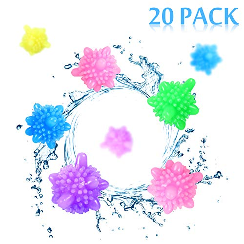 Dryer Balls, Eco Friendly Laundry Balls Colorful Reusable Dryer Balls Anti Static and Anti Winding for Wash Machine 20pcs (Best Economical Washer And Dryer)
