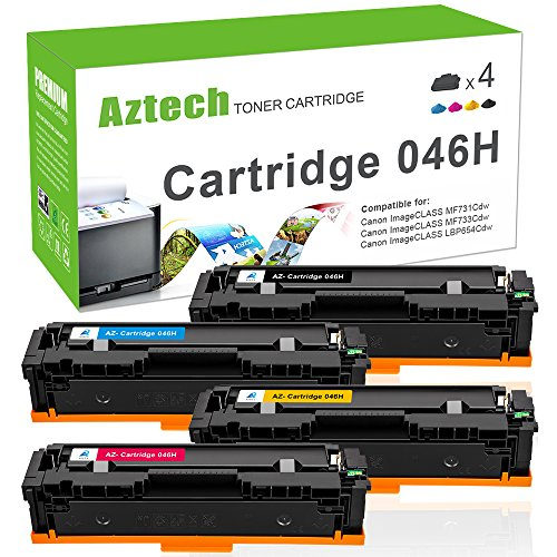 Aztech Compatible Toner Cartridge Replacement for Canon Cartridge 046 046H (Black Cyan Yellow Magenta ,4-Packs)