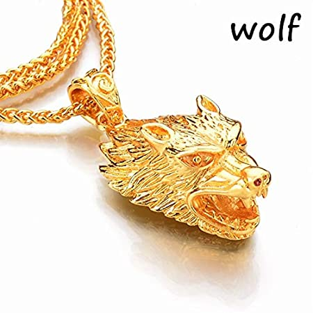 Dynamic Items Shop Glow in The Dark Crown Lion Tiger Pendant Necklace Gold Chain Rock Hip hop Animal Statement Necklaces for Women Men